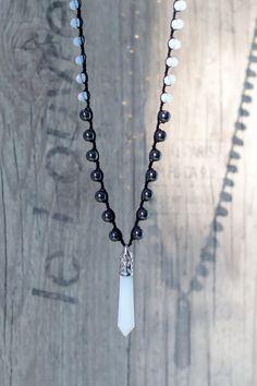 Black boho necklace with opalite crystal Bead neckalce Layer necklace Boho jewelry Crochet necklace by ElvishThings