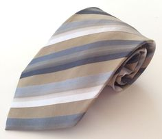 Wembley Neck Tie White Beige Gray Blue Striped 100% Silk #Wembley #NeckTie