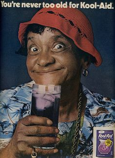 """I totally loved Moms Mabley! Remember how she'd look with no teeth? Jackie """"Moms"""" Mabley for Kool-Aid, Ebony Magazine, 1973 . I LOVED Mom's Mabley! she was a wonderful comedian! Retro Ads, Vintage Advertisements, Vintage Ads, Vintage Black, Retro Advertising, Funny Vintage, Vintage Soul, Vintage Magazines, Vintage Posters"""