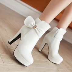 Designer Waterproof High-Heeled Boots Side Zipper Ankle Boots With Bow Decoration - NewChic