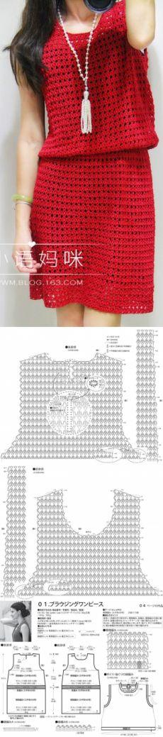 Schema de tricotat croșetat rochie de sex feminin. rochie de croșetat simplă |