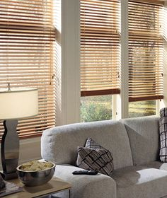 Luxury wood blinds for a bargain - there's something so inviting about a nice wood grain in your windows.  Starting at $76.