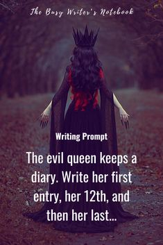 Epic Fantasy Writing Prompts - The evil queen keeps a diary. Write her first entry, her and then her last. From 30 Epic Fantasy Story Ideas to Spark Your Imagination inspiration Epic Fantasy Writing Prompts Fiction Writing Prompts, Daily Writing Prompts, Book Prompts, Creative Writing Prompts, Book Writing Tips, Writing Words, Story Writing Ideas, Writing Challenge, Story Prompts
