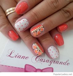 coral-and-white-nail-design-with-prints