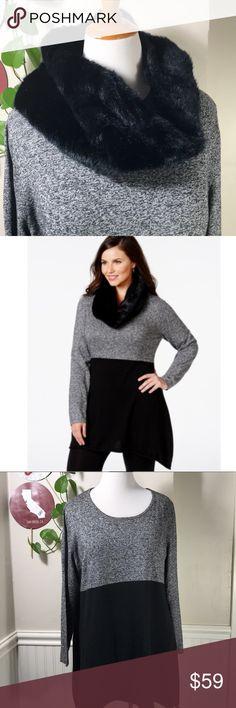 "Style & Co. Plus Size Faux-Fur Scarf Colorblocked Style & Co. Plus Size Faux-Fur Scarf Colorblocked Sweater. B017. Detachable collar. 2 pcs set. 23"" across armpit to armpit 32"" Long. Warm and soft fabric. Style & Co Sweaters Crew & Scoop Necks"