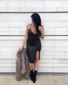 SLAY   Vixen Dress  Jackie Faux Fur Jacket  Kaylee Necklace  Jasmine Bootie