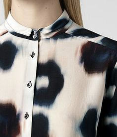 Abstract ink wash flower print shirt with micro collar; arty printed pattern…