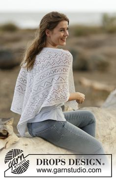 "Knitted DROPS shawl with lace pattern in ""BabyAlpaca Silk"". ~ DROPS Design"