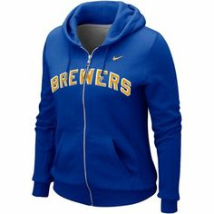 Nike Milwaukee Brewers Ladies Classic Full Zip Hoodie - Royal Blue