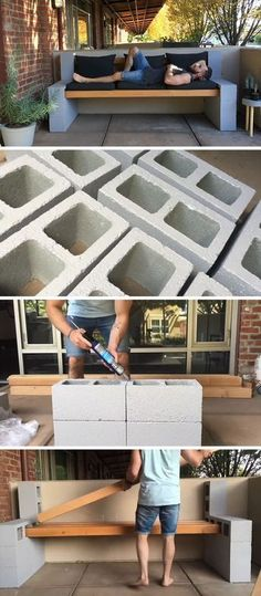 Here's a video tutorial that shows you how to make your own inexpensive DIY outdoor bench using a few concrete blocks and some wood beams. diy garden furniture Make Your Own Inexpensive Outdoor Furniture With This DIY Concrete Block Bench Better Homes And Gardens, Backyard Patio, Backyard Landscaping, Wood Patio, Patio Bench, Diy Backyard Ideas, Backyard Seating, Small Patio Ideas On A Budget, Landscaping Ideas
