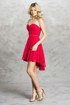 Bridesmaid Short Dress APS1380 Solid Color Sweetheart and Strapless Bridesmaid Dress has Ruched Bust features Twist Detail, Open Back with Lace-up Closure, Above Knee Length Skirt with Asymmetrical Hem. https://www.smcfashion.com/wholesale-bridesmaid-dresses/bridesmaid-dress-aps1380