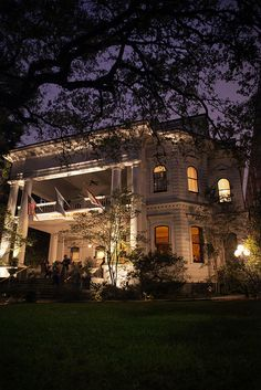 The Columns Hotel at night, New Orleans love sitting on the porch and sipping a frozen lemonade.
