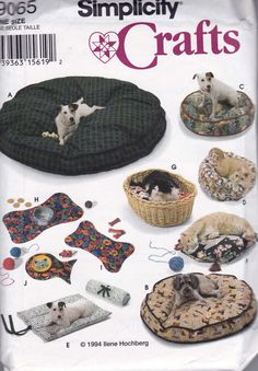 Pet Beds For Dogs & Cats Pattern Simplicity 9065 Uncut Factory Folds
