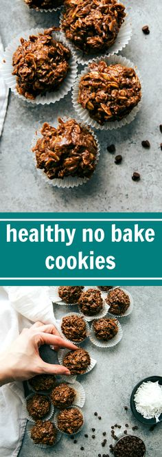 ***Healthy No Bake Cookies ~ refined sugar free & delicious NO BAKE chocolate and peanut butter cookies. Healthy No Bake Cookies, No Bake Treats, Healthy Baking, Healthy Desserts, Delicious Desserts, Yummy Food, Eat Clean Desserts, Baking Recipes, Cookie Recipes