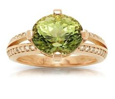 * Made in 14 karat rose gold * Set with a natural carat oval cut green Tourmaline and approximately carat total of Diamonds * Custom made by our in-house design team. Tourmaline Ring, Green Tourmaline, Gold Rings, Gemstone Rings, Gold Set, Statement Rings, Decorative Bowls, Fine Jewelry, Jewelry Design