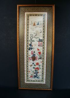 Framed Chinese Silk Hand Embroidered Wall by LotusInTheWind