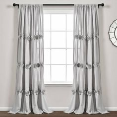 Darla Window Curtain Panel Light Gray Single - Lush Decor your windows a romantic, shabby chic look with these window panels featuring rows of hand crafted flower embellishments. These curtains will let in plenty of natural light while Cool Curtains, White Curtains, Window Curtains, Elegant Curtains, Curtains Kohls, Target, Curtain Styles, Light Filter, Pocket Light