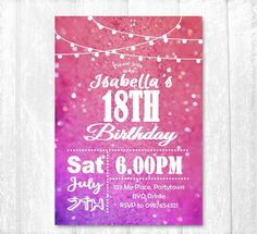 18th Birthday Invitation Female Party Invite Printed Twinkle Lights By TheCraftChickStore On Etsy