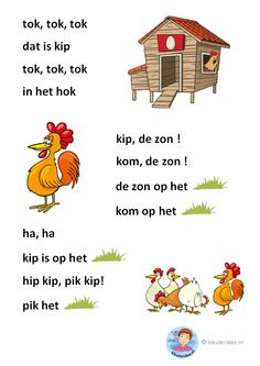 tok, tok, tok, verhaaltje voor kleuters die beginnen te lezen, AVI-start, free printable School Hacks, Pre School, Grade R Worksheets, Preschool Worksheets, Learn Dutch, Dutch Language, Starting School, School Posters, Holland