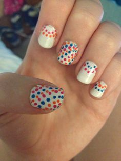 another dotty nail design for short nails, looked awesome on my holiday