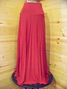 New High waisted RED Satin pleated Long Maxi Skirt women sizes S M L XL  http://stores.ebay.com/countryliving37