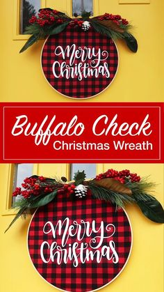 How to make an embroidery hoop Christmas wreath with your Cricut. This buffalo check wreath used fabric, iron-on vinyl and an EasyPress. Cricut Christmas Ideas, Christmas Crafts To Sell, Country Christmas Decorations, Homemade Christmas, Rustic Christmas, Christmas Projects, Simple Christmas, Holiday Crafts, Christmas Diy