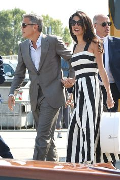 Alamuddin dons Dolce & Gabbana for a pre-rehearsal dinner boat ride through the city.    - HarpersBAZAAR.com