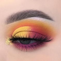 43 Sexy Sunset (Eye Makeup Idea for Prom and Wedding) - Sunset Eye Make Up . Makeup Eye Looks, Cute Makeup, Pretty Makeup, Skin Makeup, Eyeshadow Makeup, Beauty Makeup, Neon Eyeshadow, Amazing Makeup, Makeup Style