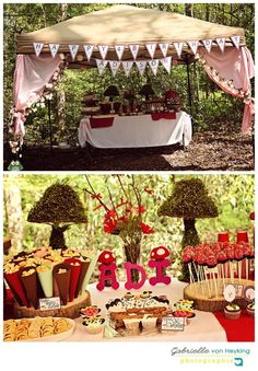 Woodland Fairy birthday food table tent and tablescape in the enchanted forest
