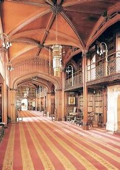 Cainewood Castle (inspired by Arundel Castle) -- The two-story library, where Tris sketched his ram pump.