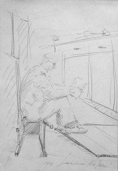 E. Besozzi pitt. 1951 Personaggio matita su carta cm. 20,5x13,7 arc. 1287