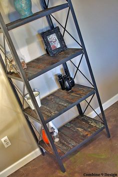 Industrial/rustic bookcase, shelving unit - steel/reclaimed wood from Japan Tsunami. Urban,modern, vintage look. Interesting hist. Etagere on Etsy, $850.00