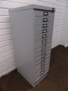 small grey bisley 15 drawer filing cabinet good condition - Small File Cabinet
