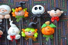 Pack of 10 Halloween Black Pens Cute Polymer by MonPetitPapier