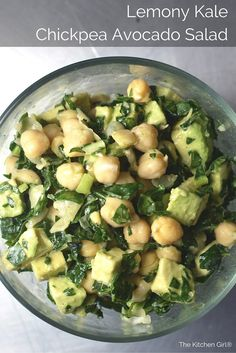 Lemony Kale Chickpea Avocado Salad is a GF, dairy-free salad. Perfect…yummy salad and very easy to make! Pistachios really add to the dish! Kale Salad Recipes, Chickpea Recipes, Chickpea Salad, Vegetarian Recipes, Cooking Recipes, Healthy Recipes, Beginner Vegetarian, Detox Recipes, Dairy Free Salads
