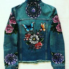 Hand painted denim jackets made to order. Jackets personalised to you, alot of my designs are tattoo inspired, and can include names, slogans, and initials. Designs can be painted on both sleeves aswell as the back. Make your jacket unique and different.. Please message me with