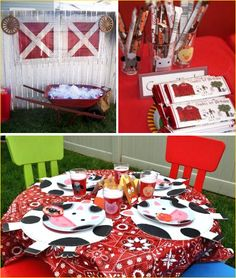 Farm Birthday Party - Find more Farm Party Ideas at http://www.birthdayinabox.com/party-ideas/guides.asp?bgs=8