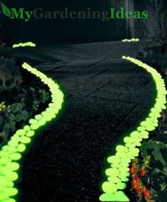 Lighten up the dark pathway of your garden with florescent colored stones