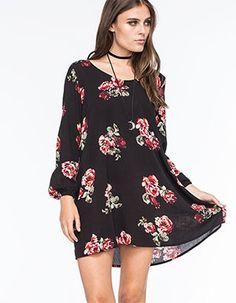 FULL TILT Floral Shift Dress  Black