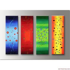 Acrylic Abstract Painting 4 Pieces Canvas Sets Modern Wall Art 36x48 Inches Huge-0001
