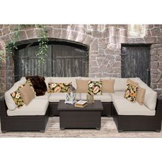 TK Classics Belle 7 Piece Deep Seating Group with Cushion Fabric: Sesame Outdoor Sofa Sets, Outdoor Furniture Sets, Outdoor Decor, Outdoor Sectional, Outdoor Living, Contemporary Outdoor Sofas, Covered Back Patio, Patio Seating, Outdoor Settings