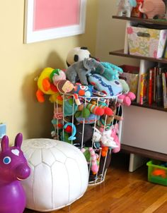 Hamper for Stuffed Animals Use a wire laundry hamper to crate stuffed animals, then the kids can pick the one they want from the sides. This is my kid's room and we love this solution! Check it out at Prudent Baby. Organizing Stuffed Animals, Stuffed Animal Storage, Organizing Toys, Kids Room Organization, Toy Rooms, Kids Rooms, Toy Storage, Basket Storage, Smart Storage