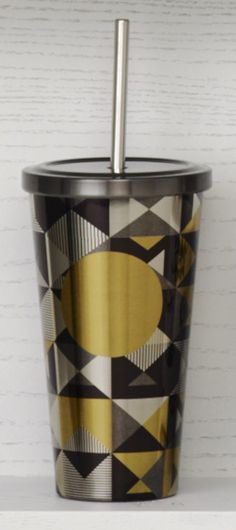 Insulated, stainless steel Cold Cup tumbler with an eye-catching triangle pattern and a bright gold dot.