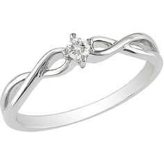 1/10 ct Diamond 10k White Gold Engagement Ring ($250) ❤ liked on Polyvore