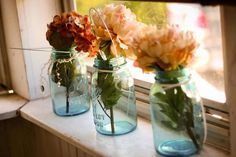 Hydrangea Mason Jar Vase by TooShai on Etsy, $10.50