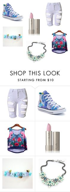 """""""Floral Blue Summer Look"""" by creepypasta-433 on Polyvore featuring Topshop and Converse"""