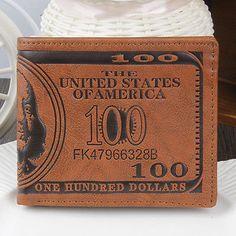 Men US Dollar Bilfold Leather Bifold Card Holder Wallet Handbag Coffee Purse V