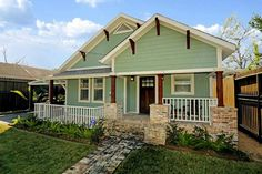 Travis heights front porch traditional exterior for Craftsman home builders houston