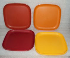 "New TUPPERWARE 8"" SQUARE PLATES Vtg Harvest Colors Picnic Kids Lunch Plate Set 4 #Collectible"