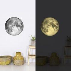 Moon glow in the dark muursticker van Chispum - Maan glow in the dark muurst. - Lilly is Love Baby Design, Interior Design Inspiration, Wall Sticker, Kids Bedroom, Baby Room, Sweet Home, Moon, House, Xl